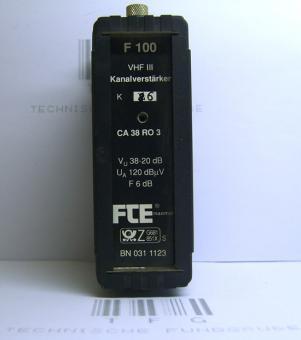 Kanalverstärker,F100,VHFIII, FTE,CA38RO3,Kanal,6, 38-20dB,gebraucht